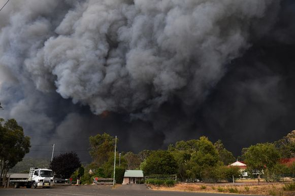 Rook van bosbranden in de buurt van Sydney.