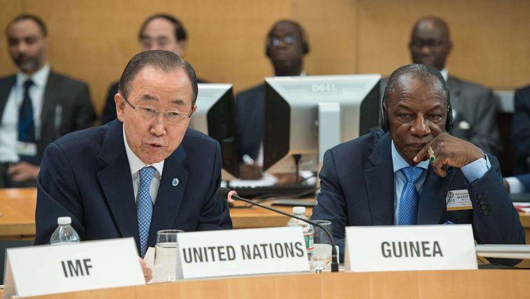 Secretaris-Generaal Ban Ki Moon en president Alhpa Conde van Guinee tijdens de VN-meeting over ebola Beeld afp