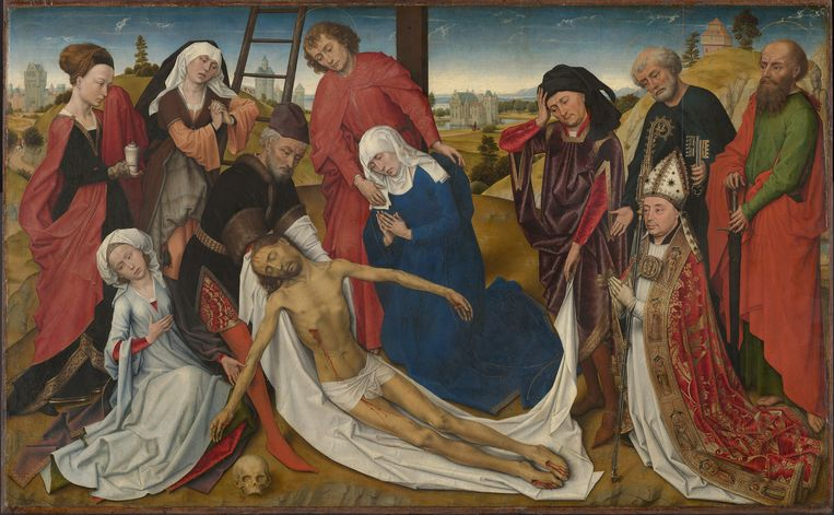 Rogier van der Weyden (en atelier): De bewening van Christus, in nog niet gerestaureerde staat. C. 1460-1464, Mauritshuis, Den Haag, olieverf op paneel, 80.6 x 130.1 cm. Beeld Mauritshuis, Den Haag
