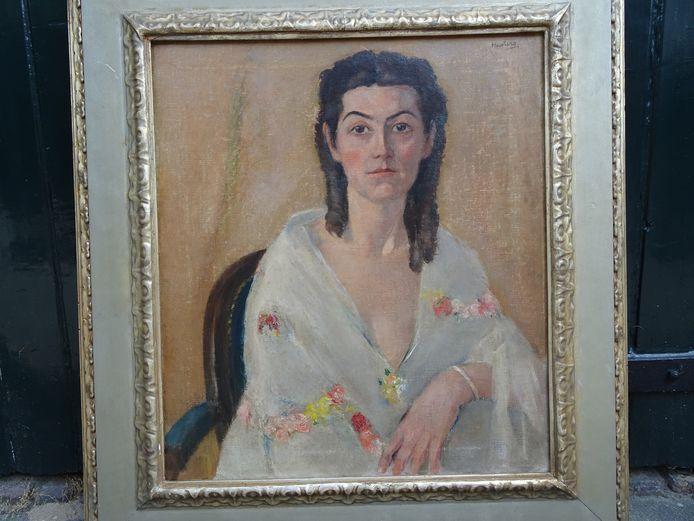 Een van de pronkstukken van het Jan Heestershuis in Schijndel: een portret van kunstenares Mies van Oppenraaij, die vorige eeuw enige tijd was ondergedoken bij Jan Heesters in Schijndel.