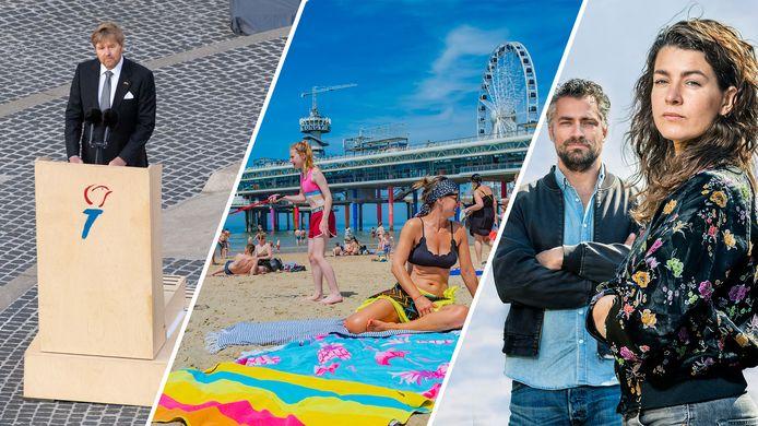 De Koning op De Dam, mensen op het strand in Scheveningen en Hidde van Warmerdam en Merel Westrik presenteerden 'Ons leven na corona'.