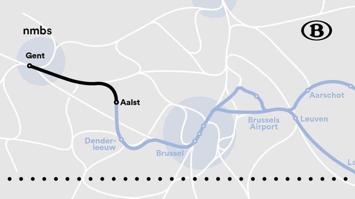 Treinverkeer tussen Gent en Aalst verstoord na een personenongeval.
