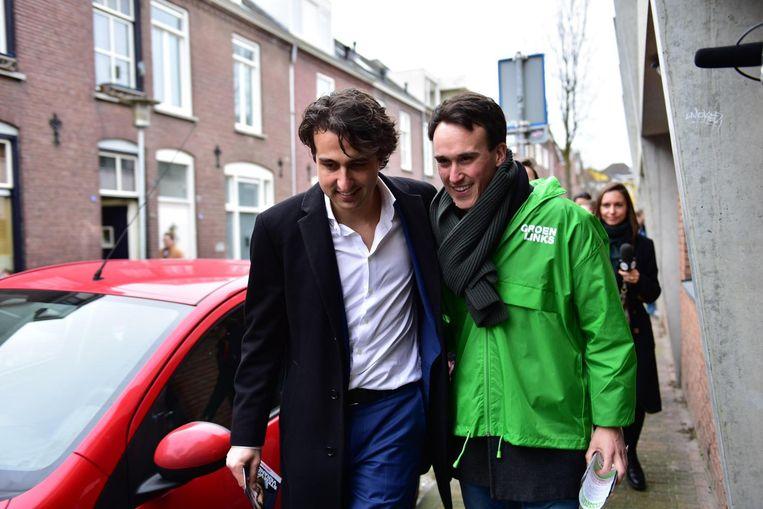 Samen met Jesse Klaver tijdens de campagne. Beeld