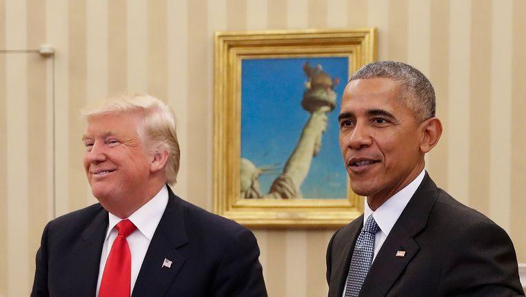 Obama ontving Trump in het Witte Huis twee dagen na zijn verkiezing in november vorig jaar.