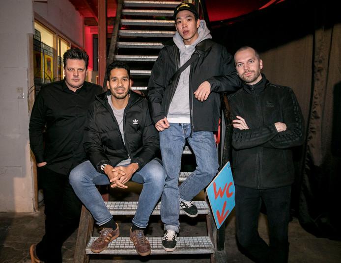 """Moderator Menno Pot: """"Met de komst van de Amsterdam schoen is de cirkel rond."""" Met Pablo Leckie (Adidas), ondernemer Kiet Hoang en Valentijn Bouman (Adidas)."""