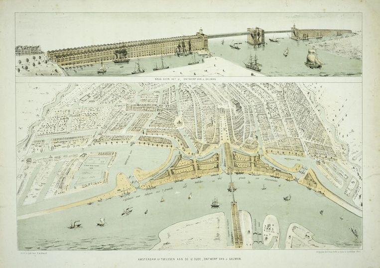 Ontwerp van Jan Galman uit 1857 voor een brug over het IJ, veertig jaar voor het Centraal Station werd geopend Beeld Jan Galman/Stadsarchief Amsterdam