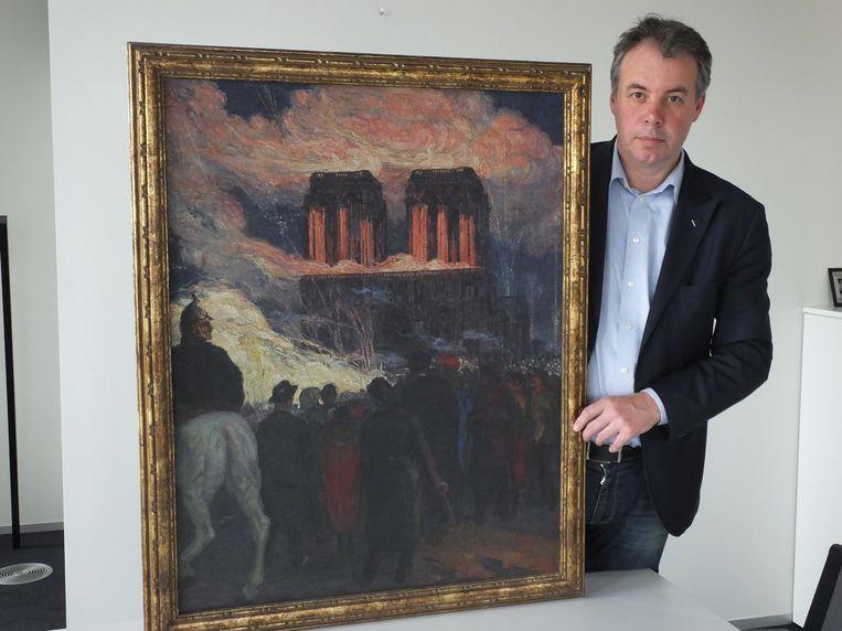 Jan Vermeulen met het schilderij van Francois Pycke.