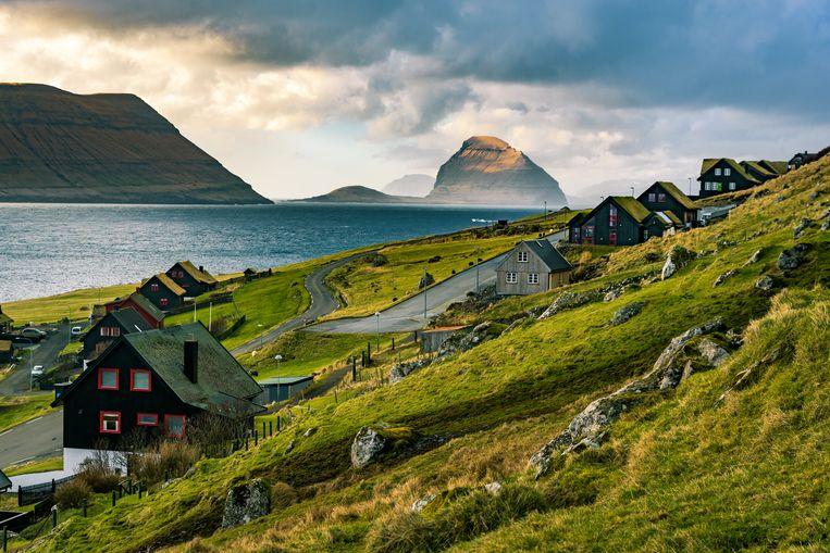 Traditionele huizen met groene turfdaken op de Faerøer-eilanden Beeld Getty Images