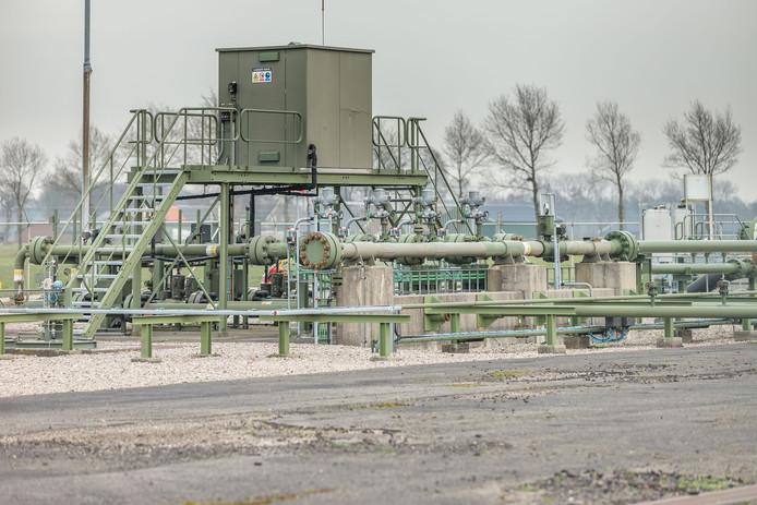 Gasinstallatie tussen Lutten en Ane in de gemeente Hardenberg.
