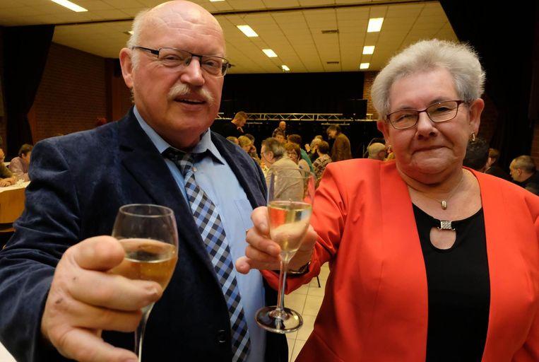 Luc Camps en zijn echtgenote Josephina Bosmans op het bedankingsfeest.