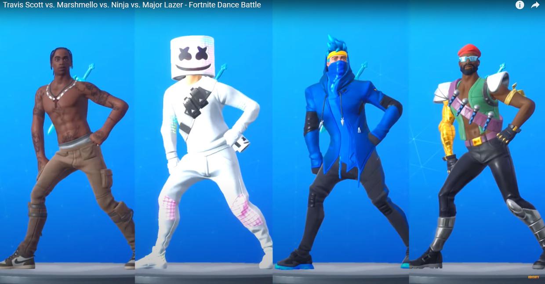 Een dancebattle in Fortnite.