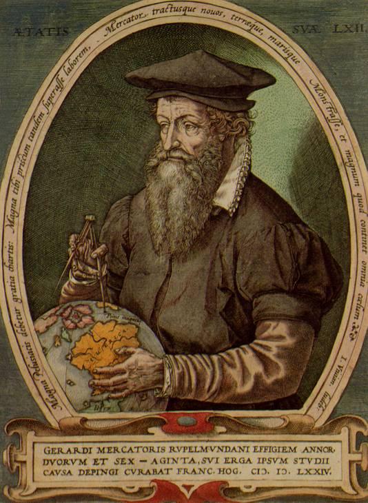 Een gravure van Gerard Mercator.