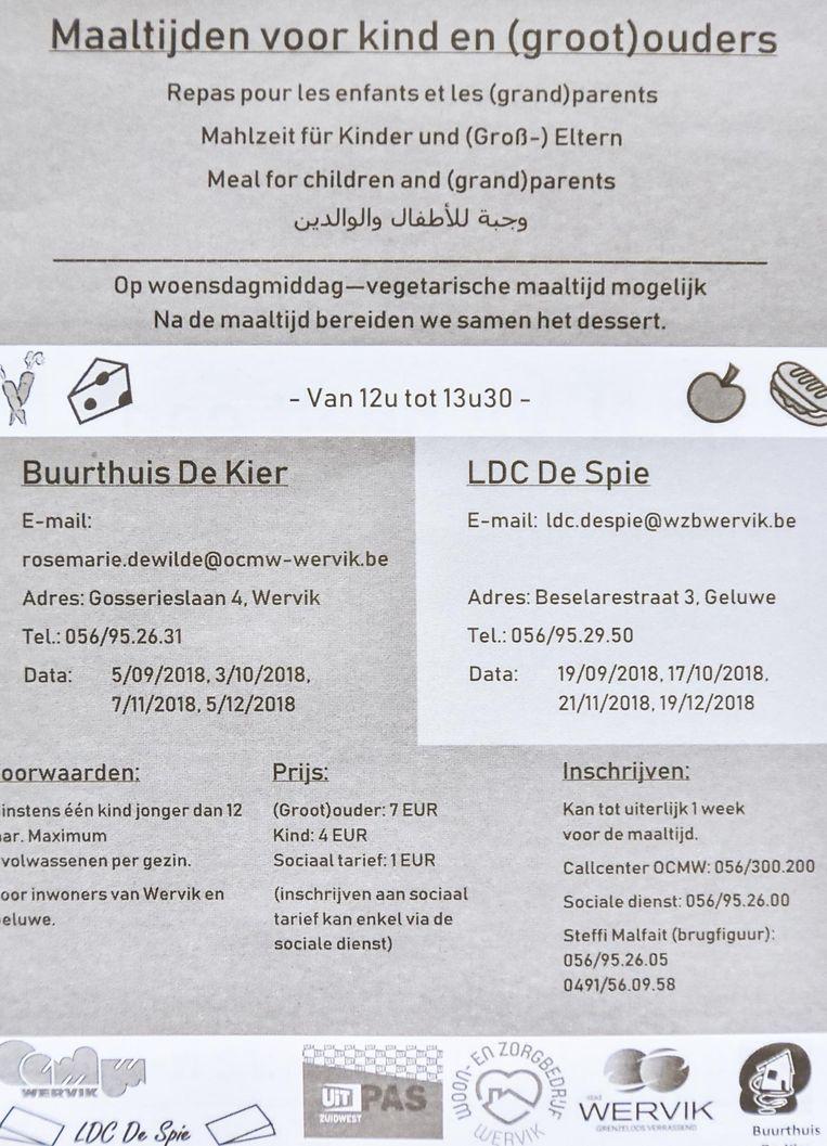 'Maaltijden voor kind en (groot)ouders' in het Nederlands, Frans, Duits, Engels en Arabisch.