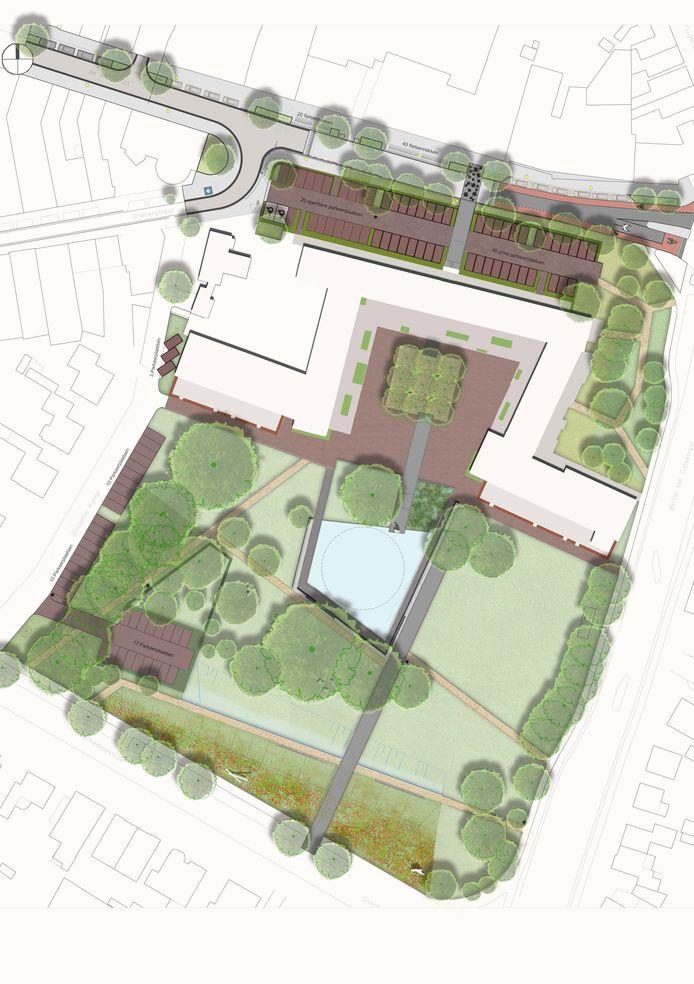 Het park rondom de nieuwbouw wordt door de projectontwikkelaar verder aangepakt en ingericht.