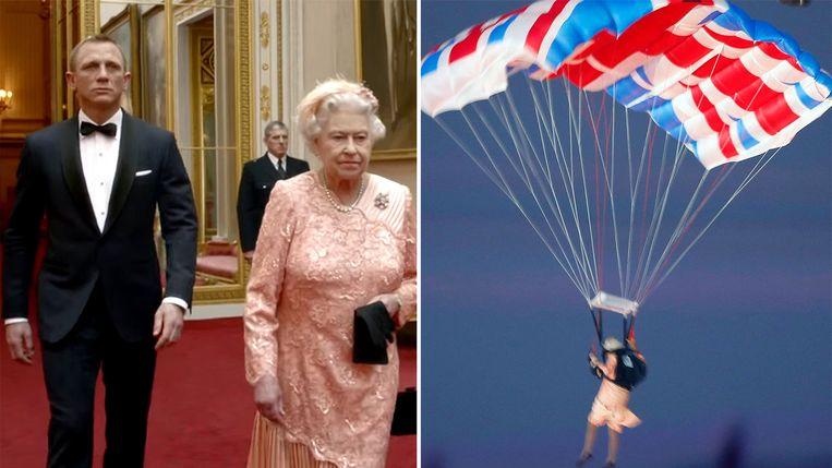 Koningin Elizabeth en Daniel Craig als James Bond. Rechts: een als koningin Elizabeth verklede parachutist landt in de openingsceremonie van de Olympische Spelen 2012 in Londen. Beeld RV-Reuters, YouTube
