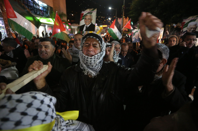 Palestijnen protesteren in Nablus tegen het Amerikaanse vredesplan.