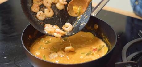 Koken met Blik: alles voor deze Aziatische curry met gamba's vind je in je voorraadkast
