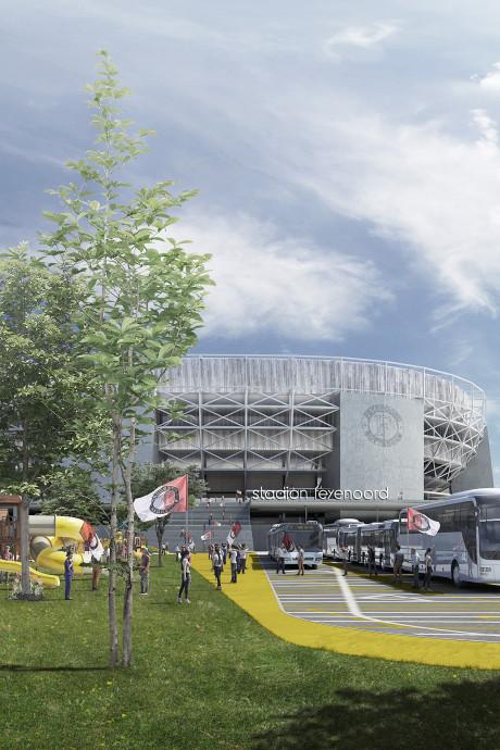 Bekijk hier de nieuwste impressies van Feyenoord City: met de bus tot voor deur van stadion
