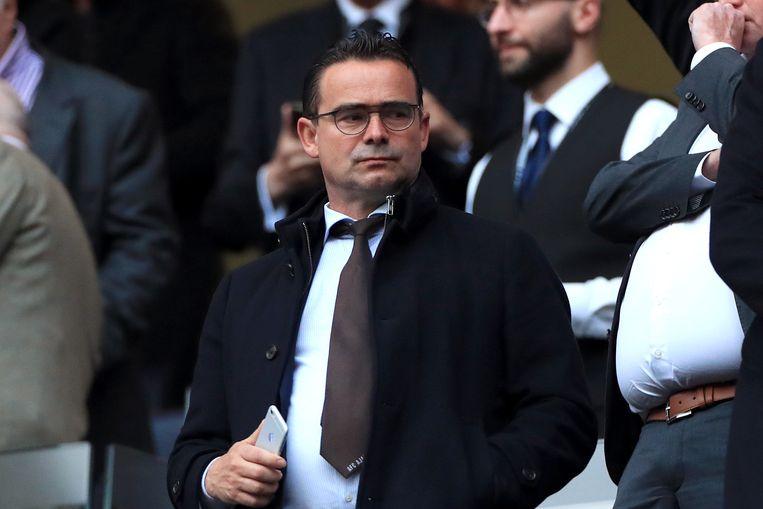 Marc Overmars op de tribune voor Ajax - Tottenham Hotspur.  Beeld BSR Agency