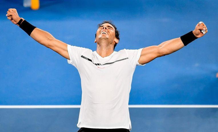 Nadal na zijn winst tegen Dimitrov. Beeld null