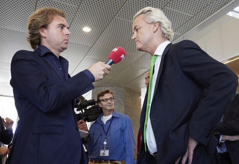 PVV-leider Geert Wilders wordt geïnterviewd door Rutger Castricum van PowNed Beeld anp