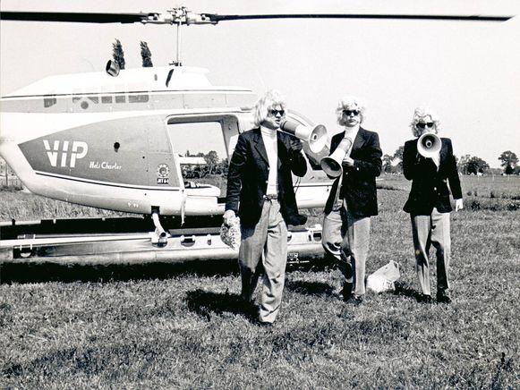 De legendarische Hermannen Bart Peeters, Hugo Mathyssen en Marcel Vanthilt arriveren in 1985 per helikopter. De Straatfeesten haalden er de toenmalige BRT mee.