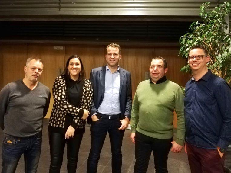 Het nieuwe schepencollege vanaf 2019: Jo Santermans, Nele Steegmans, Tom Seurs, Marc Bergmans en Bjorn Ulenaers.