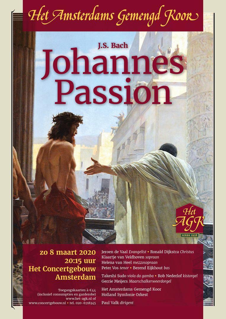 Poster van het Amsterdams Gemengd Koor voor de Johannes-Passion. Beeld