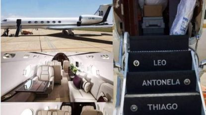 Lionel Messi tikt privéjet van 13 miljoen euro op de kop: inclusief een keuken, twee badkamers, het nummer 10 en de namen van zijn gezin op de trap