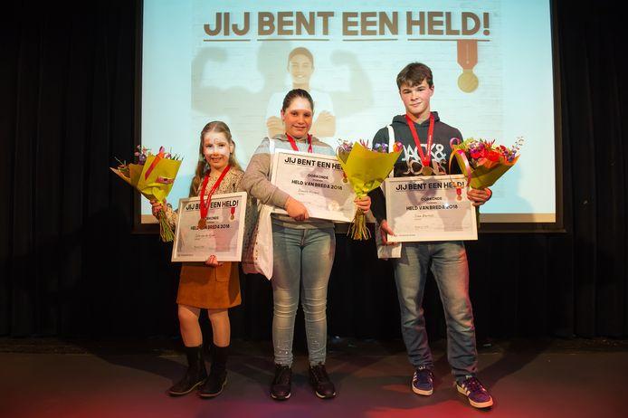 Vorig jaar werden de eerste drie Bredase jeughelden geëerd in Mezz: vlnr Cato van de Vijver, Donita Vissers en Siem Bartels.