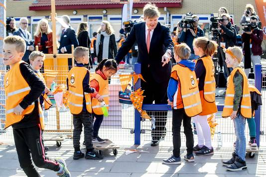 Koning Willem-Alexander tijdens de zevende editie van de Koningsspelen in Lemmer.