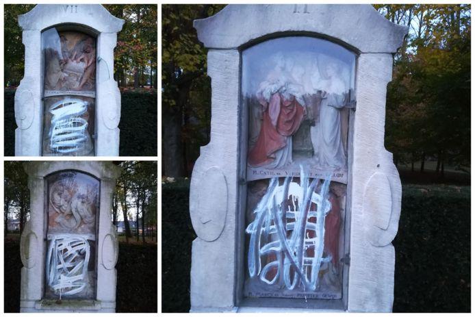 De vandalen bekladden onder andere de kapelletjes op het kerkhof van Wondelgem met witte verf