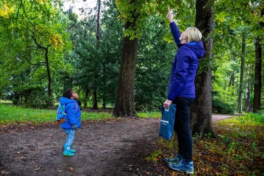 Lucky (3) is met zijn moeder Femke op zoek naar kastanjes, eikeltjes en mooie herfstbladeren tijdens een wandeling in het bos.