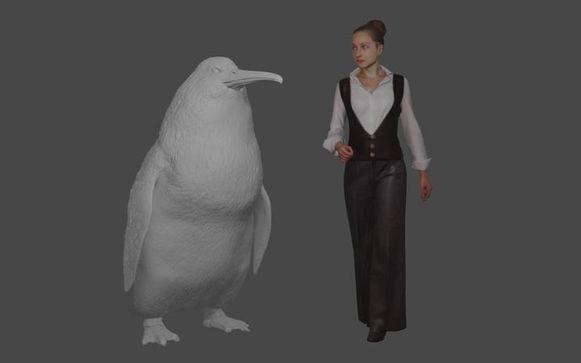 De reuzenpinguïn is bijna even groot als een mens.