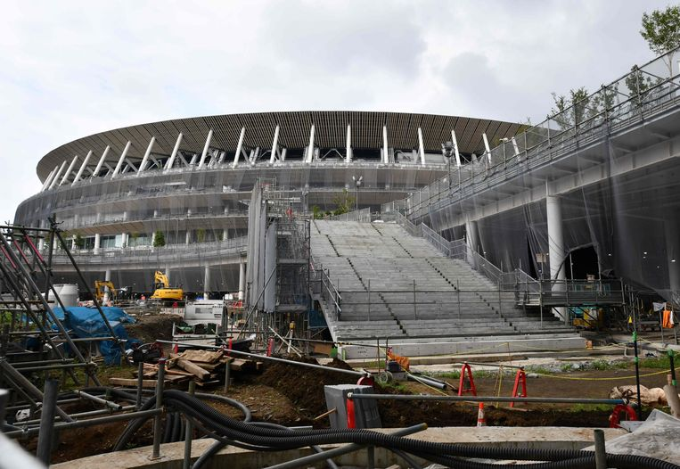 De opbouw van het New National Stadium, dat klaar moet zijn in november 2019.