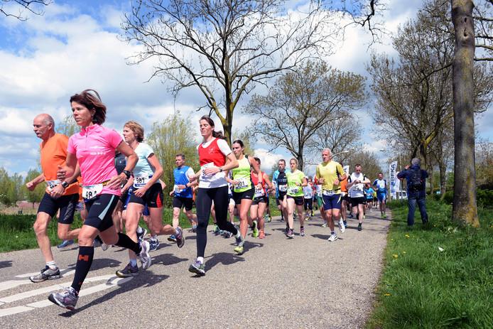 Mensen die graag hard lopen tijdens de Vlietloop van 2015.
