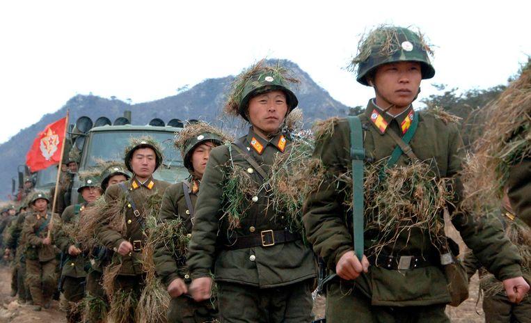 N oord-Koreaanse soldaten in training op een geheime locatie Beeld REUTERS