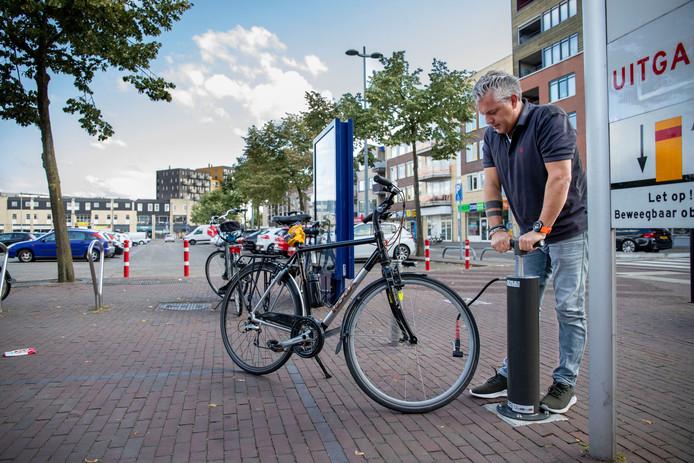 Voorbeeld van een openbare fietspomp, in het centrum van Ede.