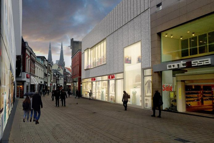 Eerste impressie van de nieuwe gevel van de Hema in de Tilburgse Heuvelstraat