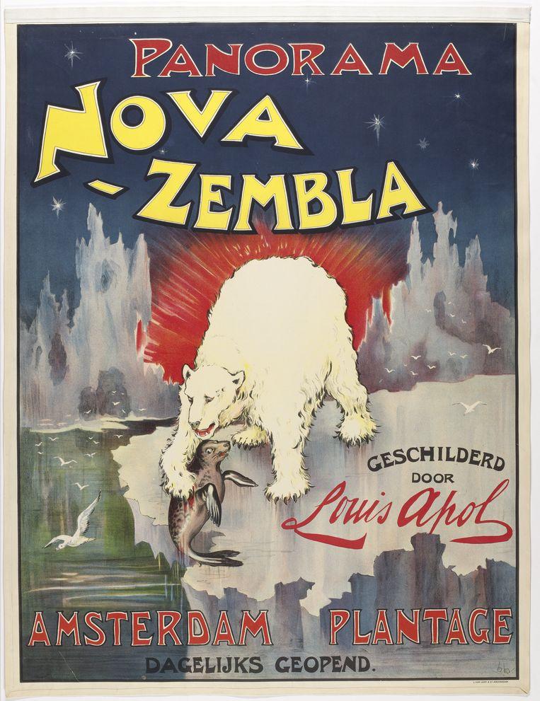 Affiche voor het Panorama Nova Zembla van Louis Pol.  Beeld