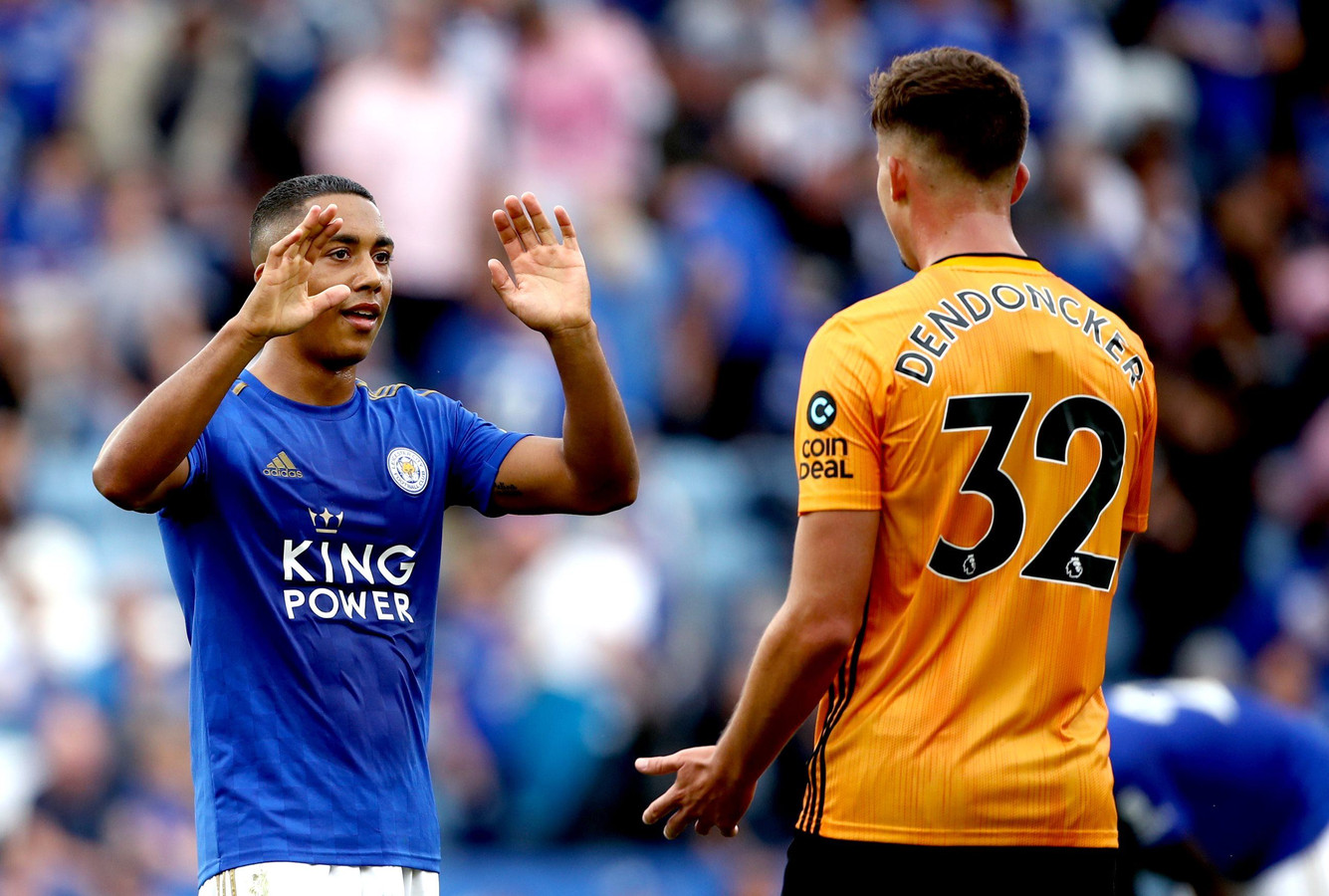 Leicester City's Youri Tielemans (left) interacts with Wolverhampton Wanderers's Leander Dendoncker at the end of the Premier League match at the King Power Stadium, Leicester. ! only BELGIUM !