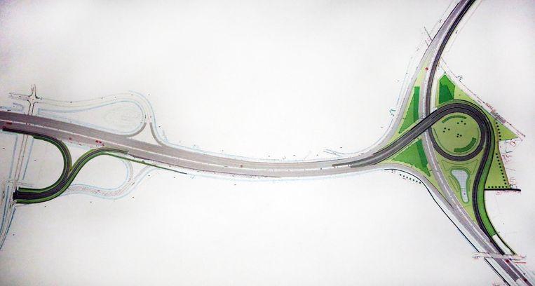 Op deze simulatie zie je links de nieuwe afrit Gullegemstraat-A19, rechts de nieuwe verkeerswissel A19-R8.