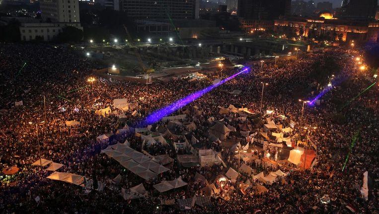 Demonstranten op het Tahrirplein, woensdagavond. Beeld epa