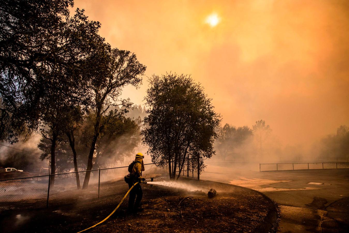 Brandweerlieden aan het werk in Napa Valley.