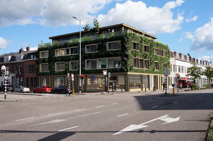 Het ontwerp voor het voormalige Scheer & Foppenpand: voor de oude gevel komt een nieuwe groene gevel en er komt een verdieping op het gebouw.