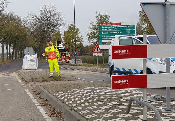 De wegwerkzaamheden aan de N265.