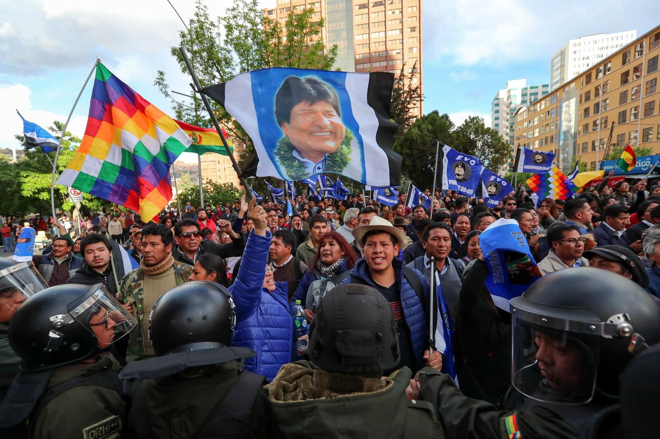 Aanhangers van president Evo Morales.