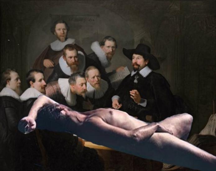 Een van de gefotoshopte foto's van Thierry Baudet gemaakt door Gert Huskens. Origineel schilderij  is de anatomische les van Dr. Nicolaes Tulp geschilderd door kunstschilder Rembrandt van Rijn.