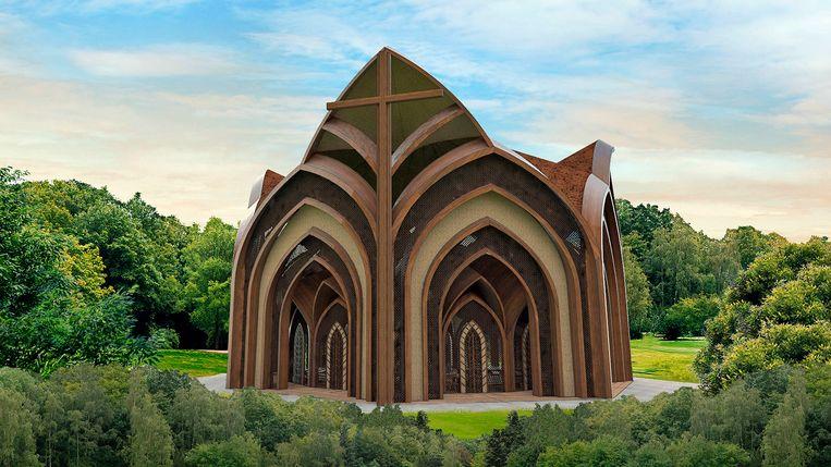 Het ontwerp voor de kerk in het leefgebied van de Yanomami-stam. Beeld Creatos Arquitetura