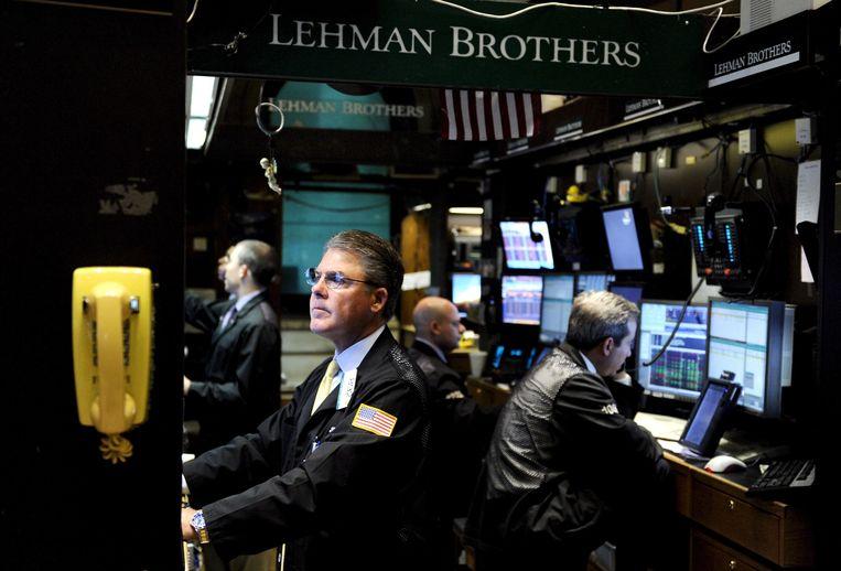 Handelaren van Lehman Brothers op de New York Stock Exchange in 2008. Beeld null